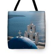Blue Domed Church In Santorini Greece Tote Bag