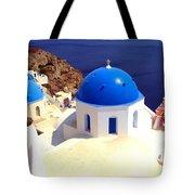 Blue Domes In Santorini Tote Bag