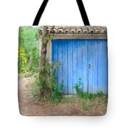 Blue Doors And Yellow Flowers Tote Bag