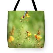 Blue Dragonfly In The Flower Garden Tote Bag