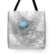Blue Egg In Bird Nest Monochrome Tote Bag