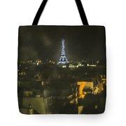 Blue Eiffel At Night Tote Bag