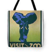 Blue Elephant Visit The Zoo Tote Bag