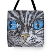 Blue Eyed Stripped Cat Tote Bag