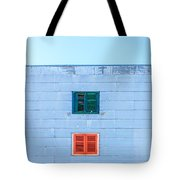 Blue Facade And Colorful Windows Tote Bag