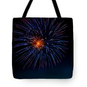 Blue Firework Flower Tote Bag