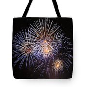 Blue Fireworks At Night Tote Bag