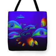 Blue Fish Dolphin Tote Bag