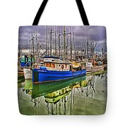 Blue Fishing Boat Hdr Tote Bag