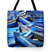 Blue Fishing Boats Tote Bag