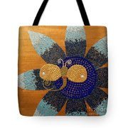 Blue Flower And Dragonfly Tote Bag