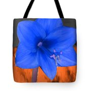 Blue Flower In The Fall At Night Tote Bag