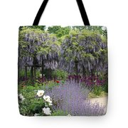 Blue Flowergarden With Wisteria Tote Bag