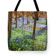Blue Flowers In Spring Forest Tote Bag