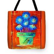 Blue Flowers On Orange Tote Bag