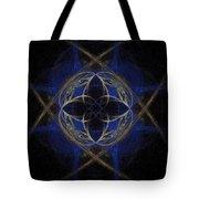 Blue Fractal Cross Tote Bag