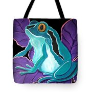 Blue Frog Purple Flower Tote Bag