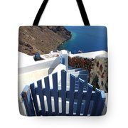 Blue Gate Oia Santorini Greek Islands Tote Bag