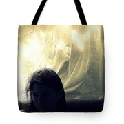 Blue Girl With Curtain  Tote Bag
