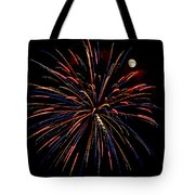 Blue Gold Pink And More - Fireworks And Moon Tote Bag