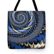 Blue Gold Spiral Abstract Tote Bag