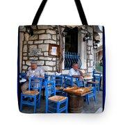 Blue Greek Taverna Tote Bag