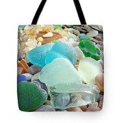 Blue Green Sea Glass Beach Coastal Seaglass Tote Bag by Baslee Troutman