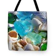 Blue Green Seaglass Shells Coastal Beach Tote Bag by Baslee Troutman