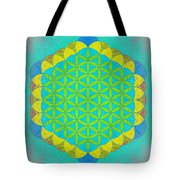 Blue Green Yellow Flower Of Life Tote Bag