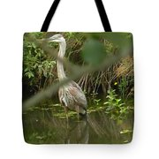 Blue Heron Hiding Reflection Tote Bag