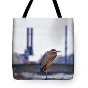 Blue Heron In Manayunk Tote Bag