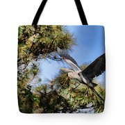 Blue Heron In The Trees Oil Tote Bag