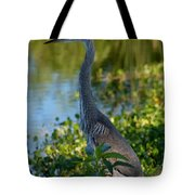 Blue Heron In The White Light Tote Bag