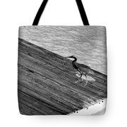 Blue Heron On Dock - Grayscale Tote Bag