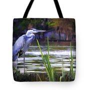 Blue Heron On The Bay Tote Bag