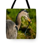 Blue Heron With A Snake In Its Bill Tote Bag