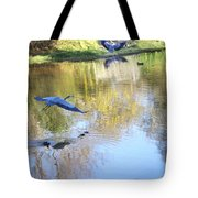 Blue Herons On Golden Pond Tote Bag