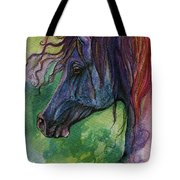 Blue Horse With Red Mane Tote Bag