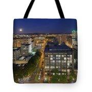 Blue Hour Moonrise II Over City Of Portland Oregon Tote Bag