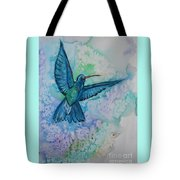 Blue Hummingbird In Flight Tote Bag
