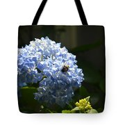 Blue Hydrangea With Bumblebee Tote Bag
