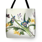Blue Iris And Insects Tote Bag