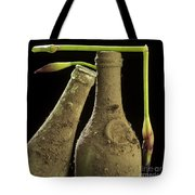 Blue Iris And Old Bottles Tote Bag