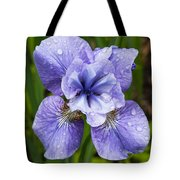 Blue Iris Flower Raindrops Garden Virginia Tote Bag