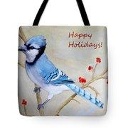 Blue Jay Happy Holidays Tote Bag