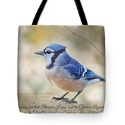 Blue Jay With Verse Tote Bag