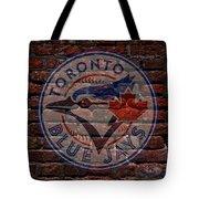 Blue Jays Baseball Graffiti On Brick  Tote Bag by Movie Poster Prints