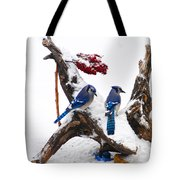 Blue Jays In Winter Tote Bag