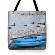 Blue Kayaks On The Shore  Tote Bag