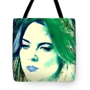 Blue Lips On Green Tote Bag